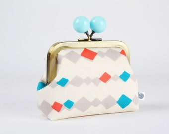 Metal frame coin purse with color bobble - Diamond lights in off white - Color dad / Japanese fabric / red turquoise grey