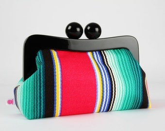 Resin frame clutch bag - Mexican stripes in red and mint - Awesome purse / Black frame / Japanese fabric / green blue yellow