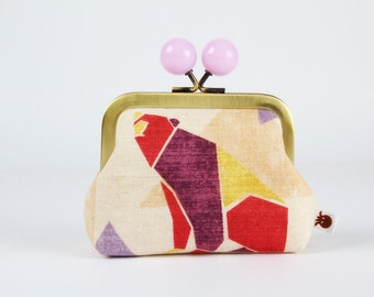 Metal frame coin purse with color bobble - Origami bear - Color dad / Japanese fabric / Geometric / Red yellow purple violet peach / graphic