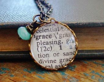 Grace Necklace, READY TO SHIP, Faith Jewlery, Faith Neckalce, Vintage Dictionary Necklace, Teen Gift, Grace Pendant, Confirmation Gift,Grace