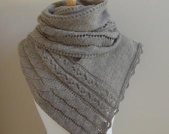 Shawl Knitting Pattern PDF - A Walk on the Beach Shawl - asymetric shawl wrap scarf cowl gift - knitting pattern using dk or sport yarn