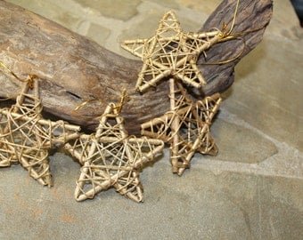 Lot of 6 Rattan Star Ornament with Gold and Glitter for Crafts