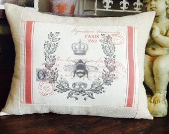 Queen Bee French Red Grain Sack Pillow, French Script Grainsack Pillow Cover, French Country Throw Pillow,  Cottage Style Pillow
