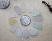 AWESOME BEACH GLASS Top drilled Small Braclet  Charms Wonderful Warm Pastel Colors zy064