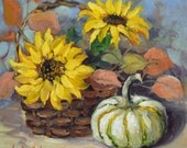 Autumn Still Life Painting With Gourds And Sunflowers, 8x8 Canvas Original Oil Painting by Cheri Wollenberg