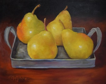Pear Still Life Painting,Four Pears In A Tin Tray,Original Canvas Painting by Cheri Wollenberg