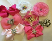 Super Sale...lot of 8 Girls Baby hair clips bows flowers