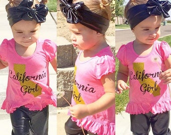 Custom made your size Girls Toddler Baby Infant Glitter California Girl high low tunic Shirt New for Fall
