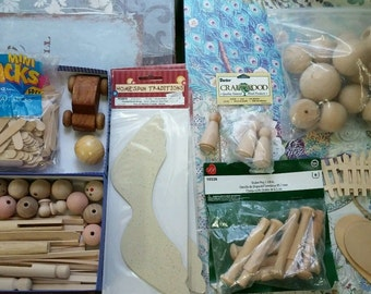 lot of wood crafts supplies