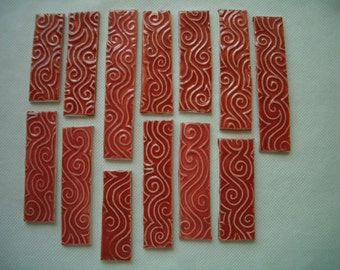 13ST - 13 pc RUBY SWIRLS Patterned Tiles - Ceramic Mosaic Tiles