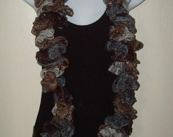 Fashion Infinity Ruffle Scarf Browns & Grays/Women's Scarf/Women's Accessories/Ruffle Cowl/Ruffle Neck warmer/Fashion Accessory/Neckwrap