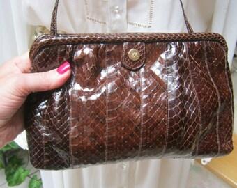 Vintage dark brown snake skin leather bag, Morris Moskowitz rich brown snake skin pouch purse, small brown snake skin shoulder bag,