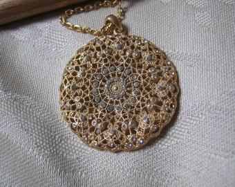 Vintage romantic filigree look round pendant necklace, tiny crystals goldtone filigree pendant necklace, Victorian look round pendant neckla