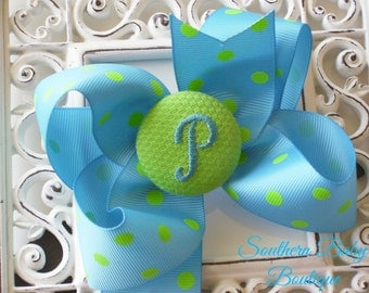 New Item---Boutique Monogrammed Baby Toddler Girl Hair Bow Clip---POLKA DOTS---Turquoise and Lime---Letter P--Ready to Ship