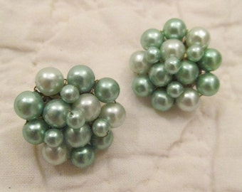Vintage Clip Earrings Beaded shades of light green