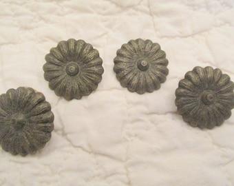 4 Vintage Drapery Pins Metal flowers