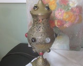 Antique Brass Electrical Lamp with Colored Glass