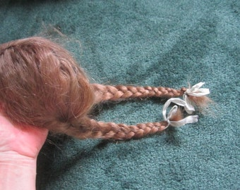Antique Braided Pigtails Doll Wig from Midwest Estate