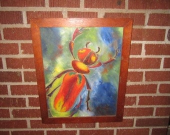 Vintage Mid Century Modern Colorful Framed Oil Painting of Bug