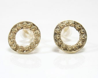 10 mm hollowed solid 9 k  yellow gold filigree disk.Hollow circle, bridal, wedding, birthday,mother's day, valentine's day,everyday studs.