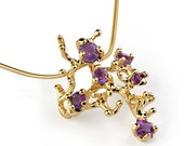 CORAL REEF Amethyst Pendant Necklace, Stone 14k Yellow Gold Pendant, Amethyst Necklace, Unique Gold Pendant Necklace Gold