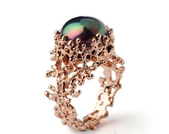 ON SALE - CORAL Black Pearl Ring, Black Pearl Engagement Ring,  Rose Gold Engagement Ring, Rose Gold Pearl Ring, Rose Gold Ring