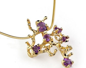 SALE 20% OFF - CORAL Reef Amethyst Pendant Necklace, Stone 14k Yellow Gold Pendant, Amethyst Necklace, Unique Gold Pendant Necklace Gold