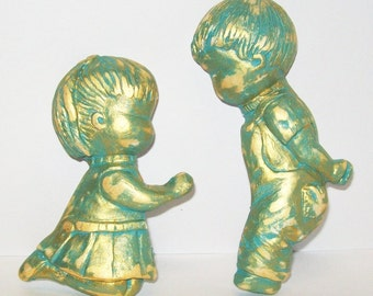 Boy And Girl Wall Plaques, Vintage Handmade, OOAK Handpainted, Home Decor, Children's Room or Baby's Nursery Art, Turquoise Gold, Aqua Blue