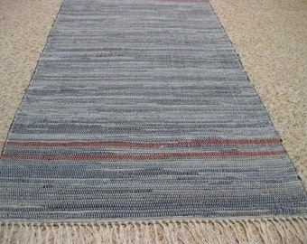 Handwoven Denim w/ 2 narrow red borders 25 x 58 (M)