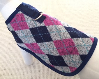Navy And Pink Argyle Dog Harness Coat