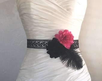 Black and Fuchsia Pink and Ostrich Feather Lace Bridal Sash - Bridal Bridesmaids or Flower Girl Sash in Hot Pink and Black