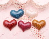 Glittery Small Hearts Resin Cabochon - 5 pieces | Resin Cabochon Decoden Supplies Jewelry Making Flatback Resin Cabochon