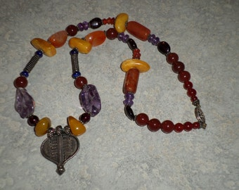 sterling silver tribal pendant semi precious stone baltic amber beaded carnellian amethyst garnet NECKLACE