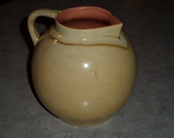 Red Wing Pottery round ball PITCHER modern vase sand glaze with peach interior