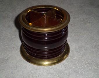 Chase centaur brass & ruby red glass light lantern vintage cigarette holder or pen pencil straws
