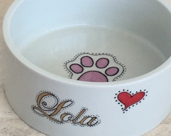 Hand painted porcelain custom personalized dog or cat food and water bowls or dishes