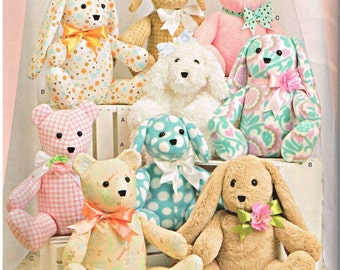 Easter Bunny Rabbit, Dog and  Bear Plush Craft Toy Dolls Simplicity 8044 Sewing Pattern