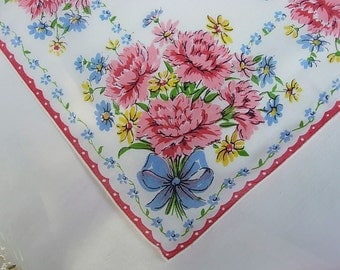 Vintage White Hanky with Pink Flowers