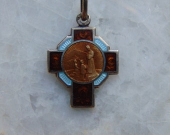 Art Deco French Antique Amber and Blue Guilloche Enamel and Sterling Silver Cross Crucifix Our Lady of La Salette Holy Virgin Mother Mary
