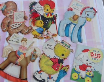 Animals on Parade in Vintage Juvenile Birthday Cards for Boy Daddy Uncle in Vintage Birthday Card Lot No 121 Total of 10