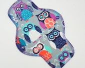 "10"" Pantyliner, Every Day Liner Made w/ Owls Cotton Flannel, Windpro, Reusable Cloth Menstrual Pad. MotherMoonPads, Cloth Pad"