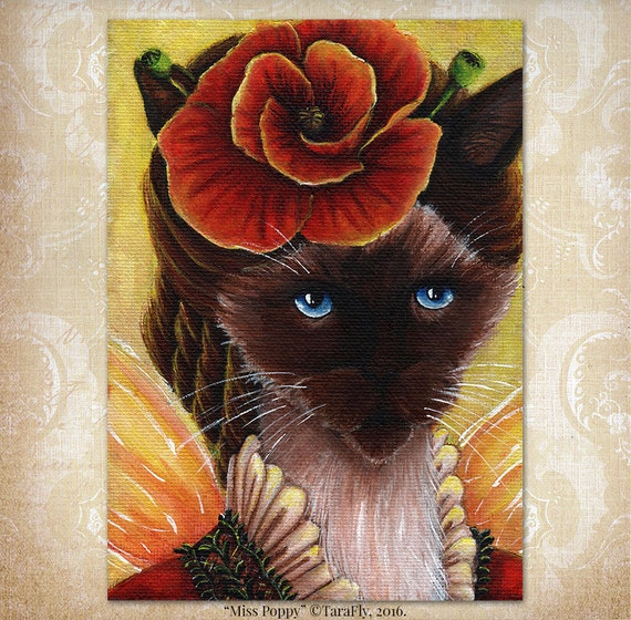 Siamese Cat Poppy Flower 5x7 Fine Art Print