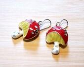 Mushroom Toadstool Butterfly Enamel Rhinestone Enamel Earrings