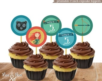 Disney BRAVE birthday printable Custom 2 inch cupcake toppers - brave party favors