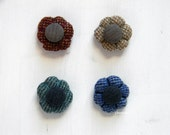 Flower lapel pin. Tweed buttonhole. Men's boutonniere. Denim blue, bottle green, camel beige or rust.