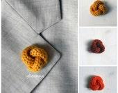 Men lapel pin. Knot lapel button. Wool lapel pin. Orange shades. Boutonniere. Saffron, orange, burnt orange.