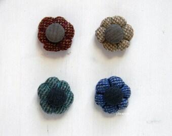 Flower lapel pin. Tweed buttonhole. Men's boutonniere. Denim blue, bottle green, camel beige or rust. maroon red.