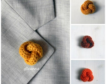 Men lapel pin. Knot lapel button. Wool lapel pin. Orange shades. Boutonniere. Saffron, orange, burnt orange.
