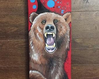 Custom Handpainted Grizzly Bear Skate Deck
