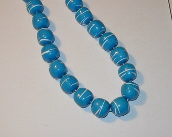 Vintage Blue and White Hand Painted Bead Necklace